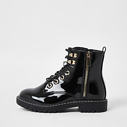 Girls black patent chunky lace up boots