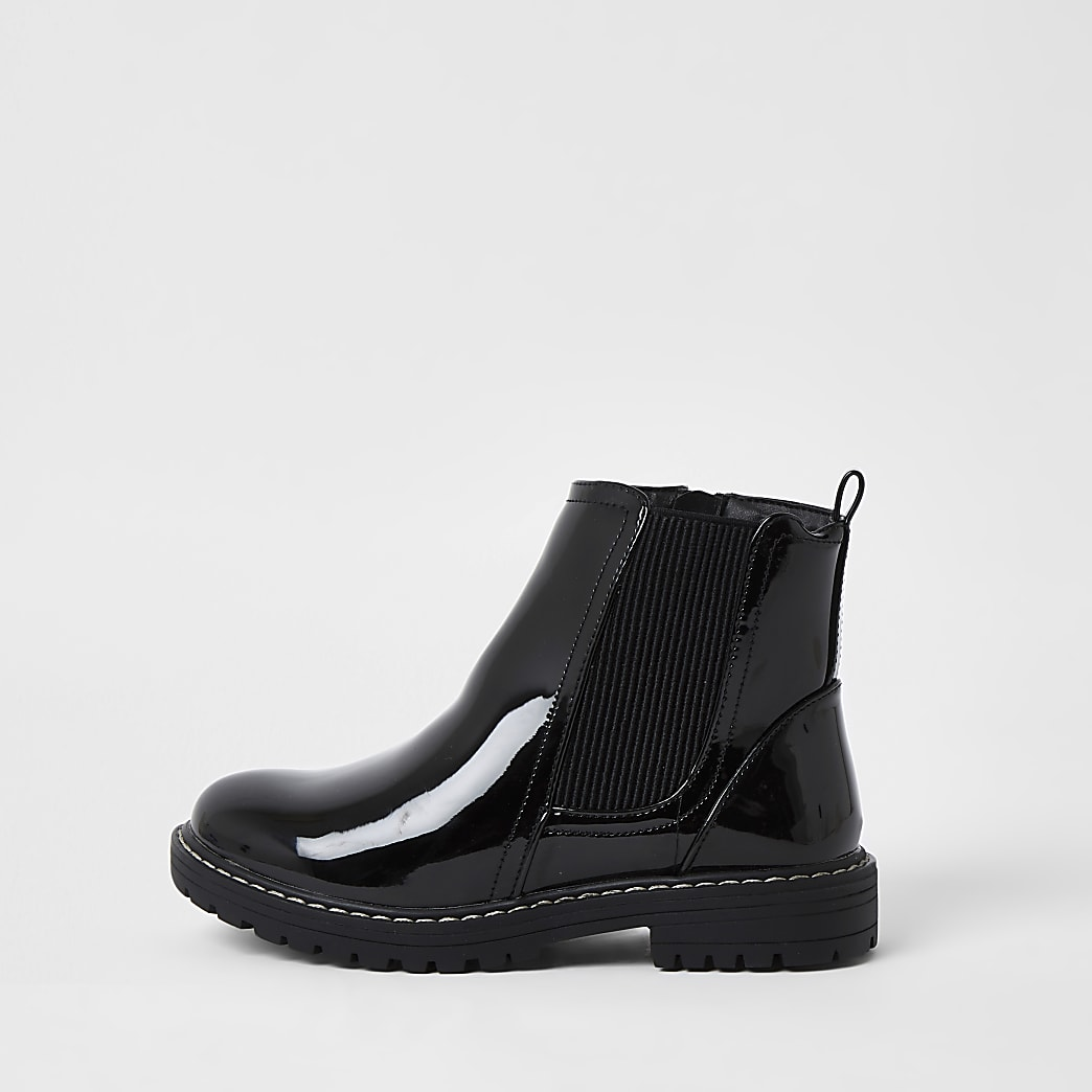 Girls black patent clumpy chelsea ankle boots