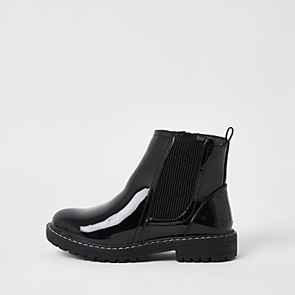 Girls black patent clumpy chelsea boots