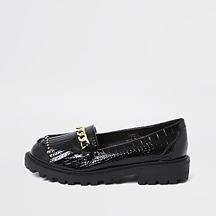 ​Girls black patent croc chunky chain loafer​