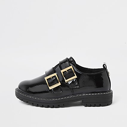 Girls black patent double buckle shoes