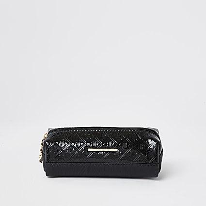 Girls black patent embossed pencil case