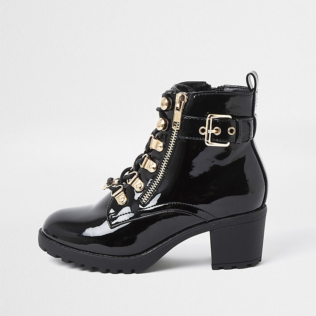 Girls black patent hiker heeled boots