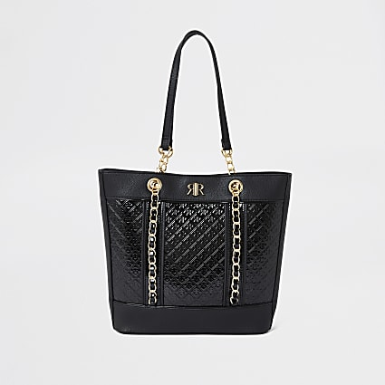 Girls black patent jacquard shopper bag