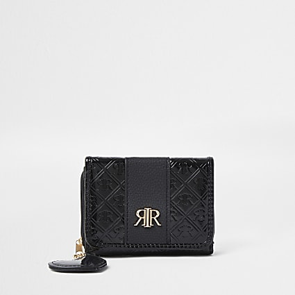 Girls black patent monogram fold out purse