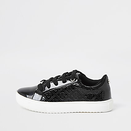 Girls black patent monogram trainers