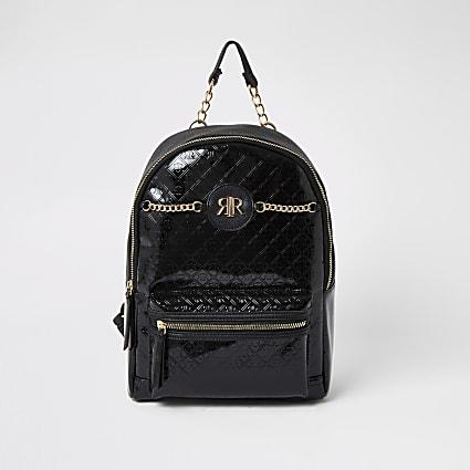 Girls black patent RI embossed backpack