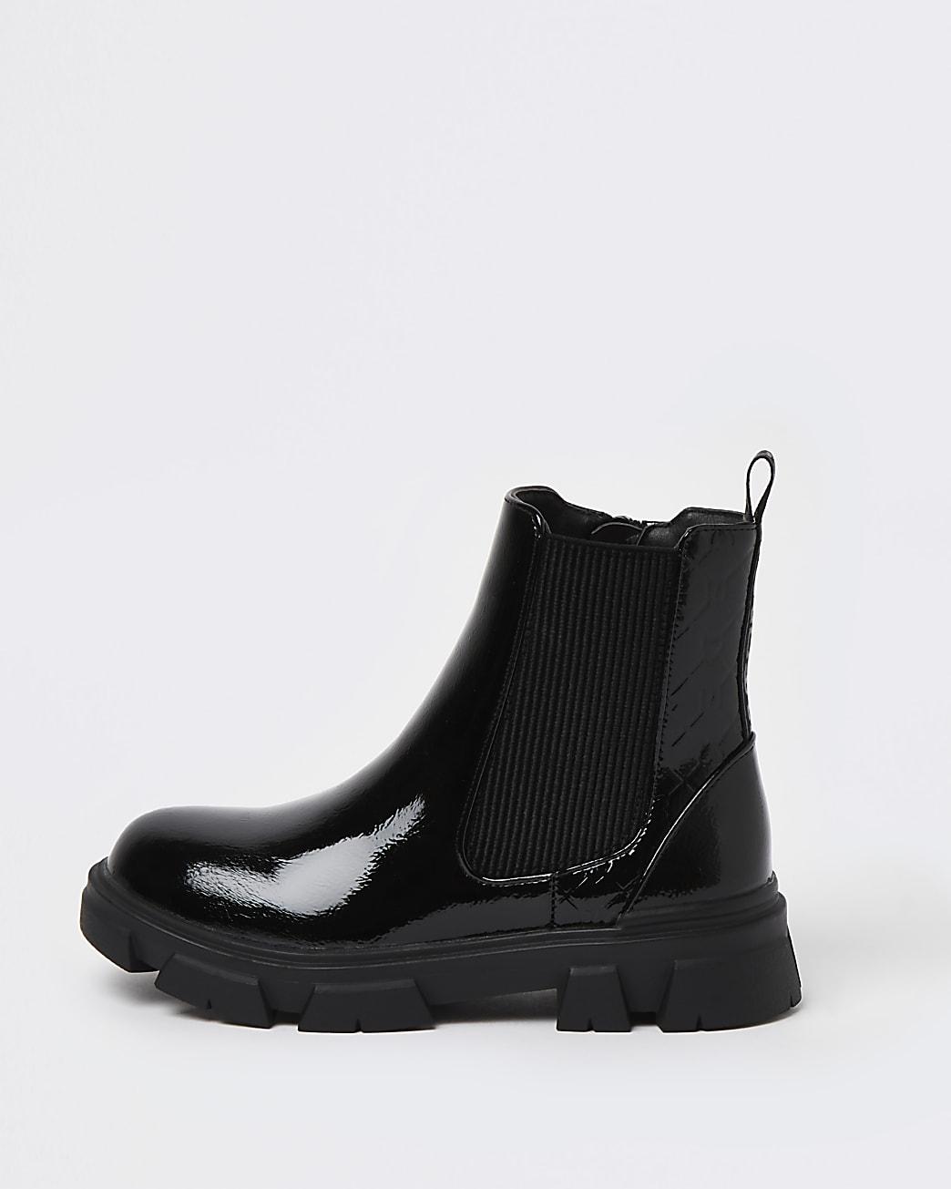 Girls black patent RI monogram chelsea boots