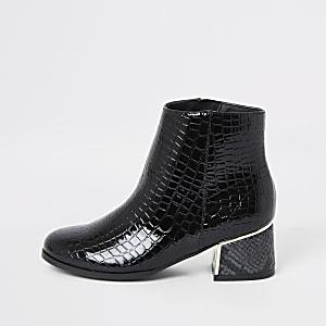 Schwarze Stiefel in Schlangenlederoptik für Mädchen