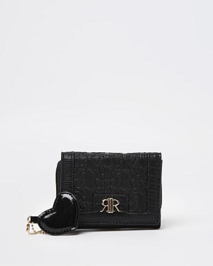 Girls black patent trifold purse