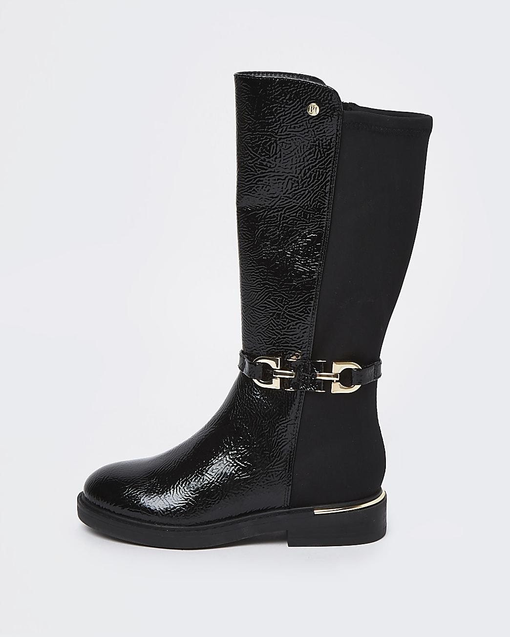 Girls black patent trim tall boot