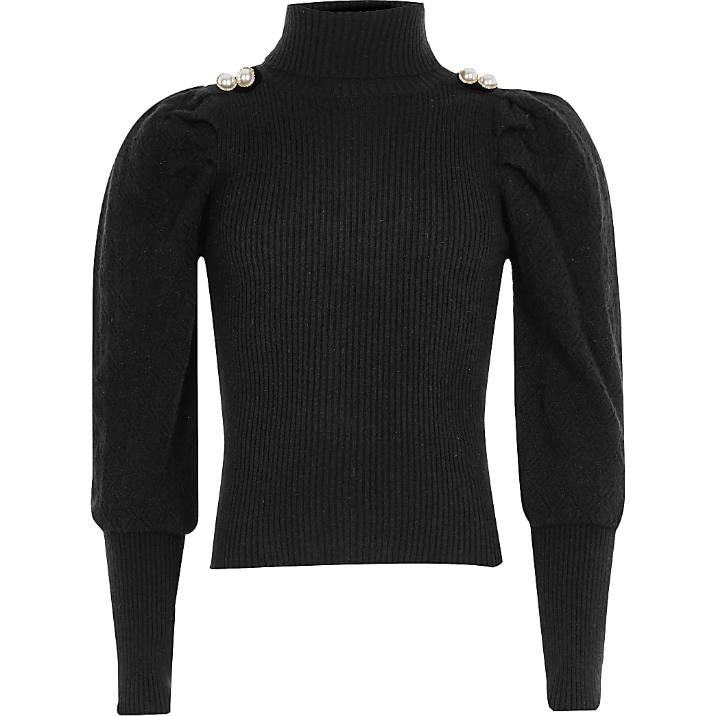 Girls black pearl button roll neck jumper