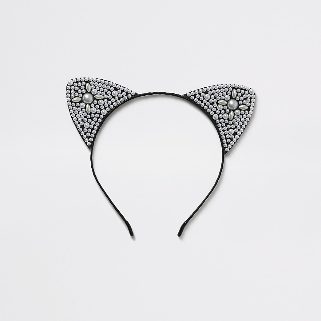 Girls black pearl cat ears headband