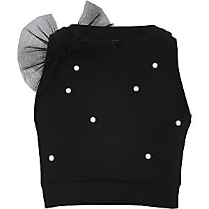 Zwarte verfraaide croppedtop met pareltjes voor meisjes