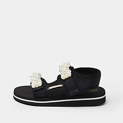 Girls black pearl embellished sandals