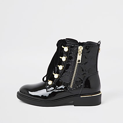 Girls black pearl eyelet lace up boot
