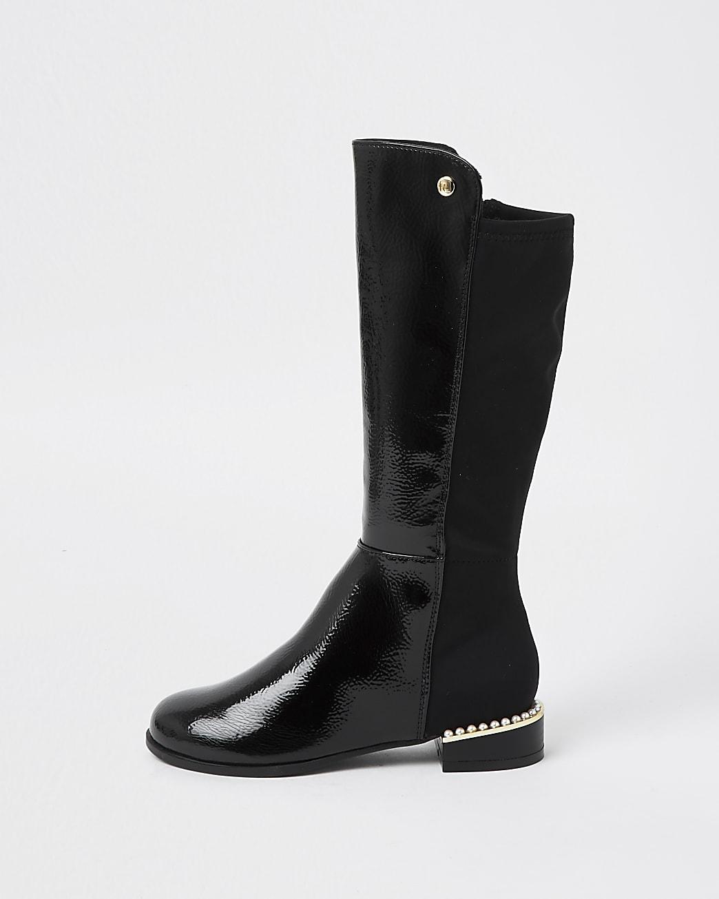 Girls black pearl heel knee high boots