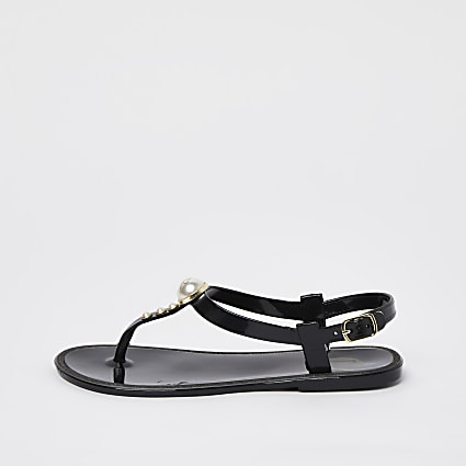 Girls black pearl jellie sandals