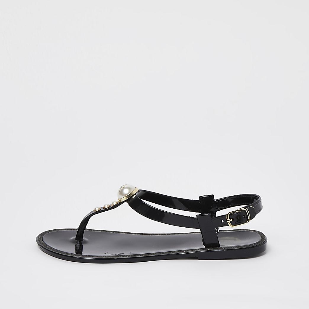 Girls black pearl jellie sandals