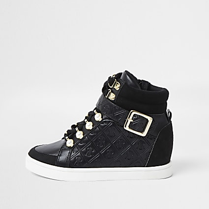 Girls black pearl monogram hi top trainer