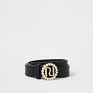 Girls black pearl RI buckle belt