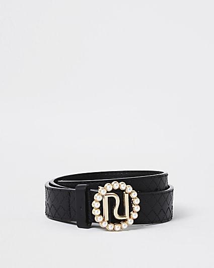Girls black pearl RI buckle belt