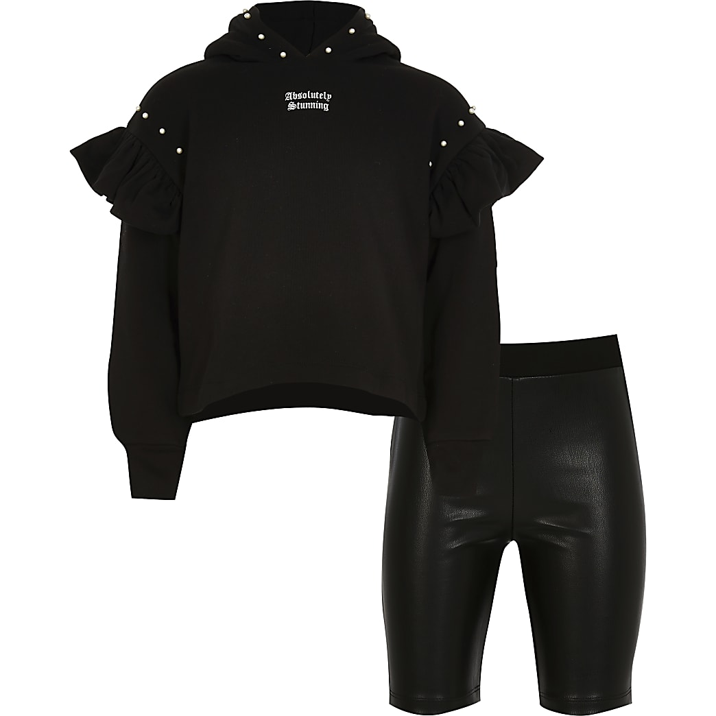Girls black pearl trim frill hoodie outfit