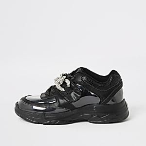 Schwarze, robuste Sneaker mit Strass aus Plexiglas für Mädchen