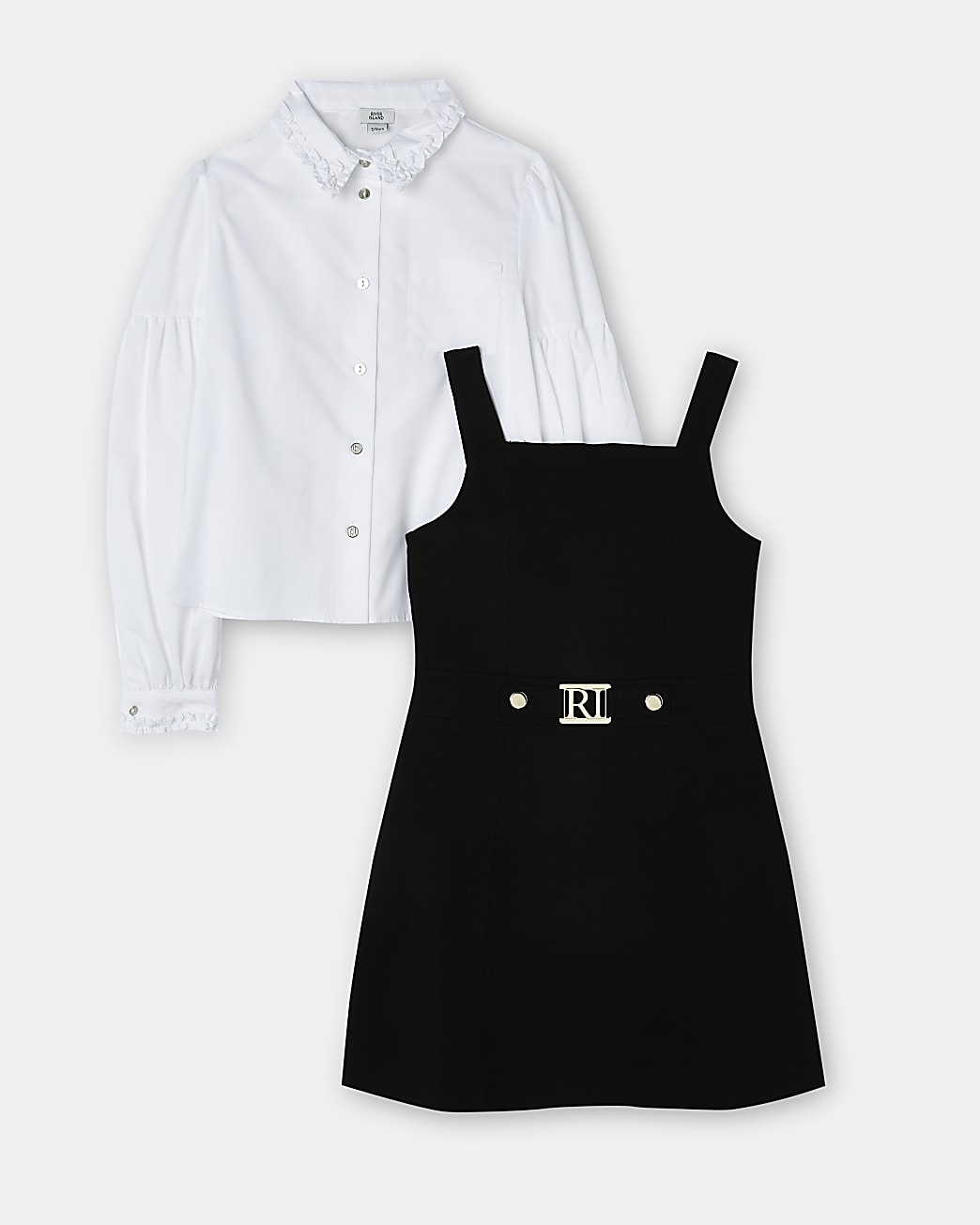 Girls black pinafore dress and shirt outfit