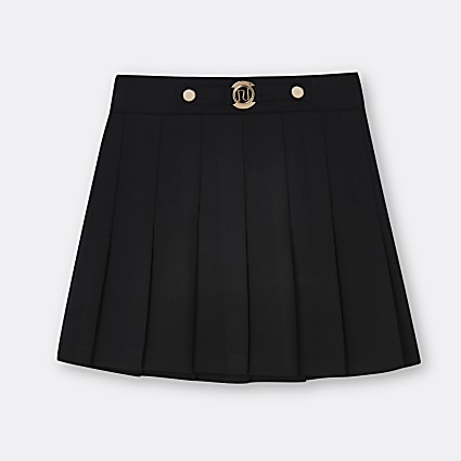 Girls black pleated ponte RI skirt