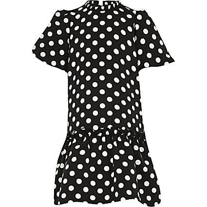 Girls black polka dot smock dress