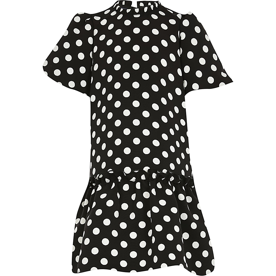 Girls black polka dot smock dress