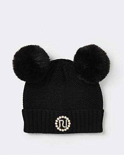 Girls black pom pom pearl beanie hat
