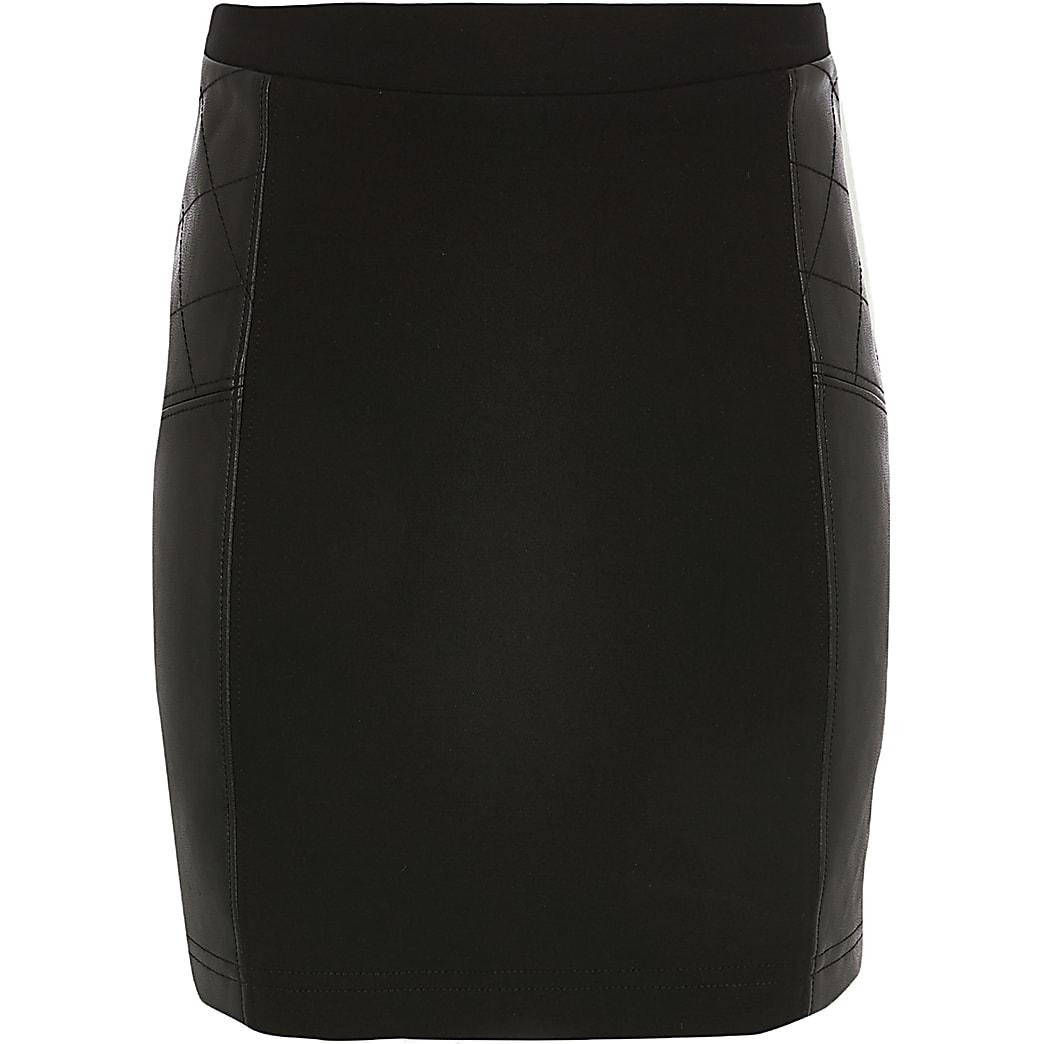 Zwarte rok van ponte-stof voor meisjes