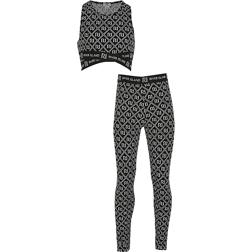 Girls black print crop outfit