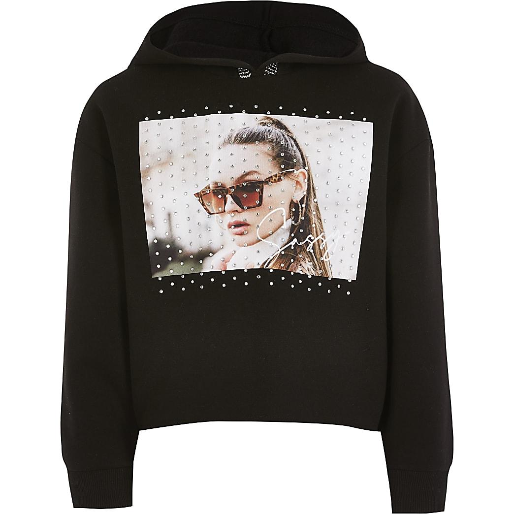 Girls black printed embellished hoodie