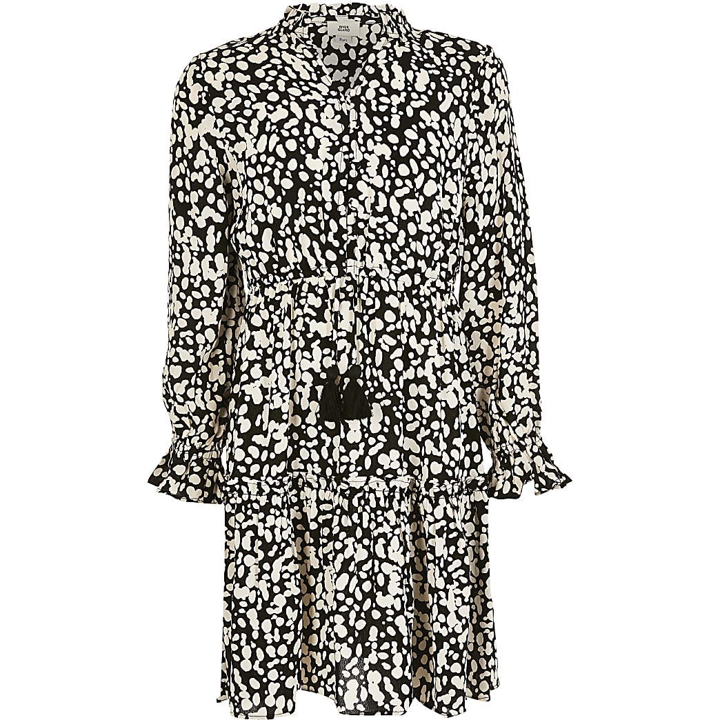 Girls black printed long sleeve smock dress