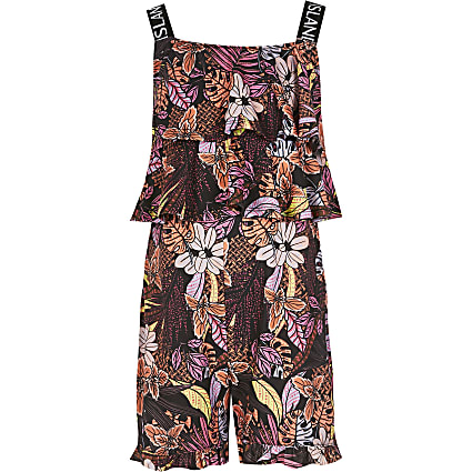 Girls black printed RI frill playsuit