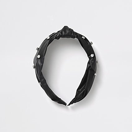 Girls black PU diamante headband