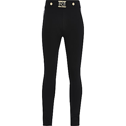 Girls black PU panel ponte legging