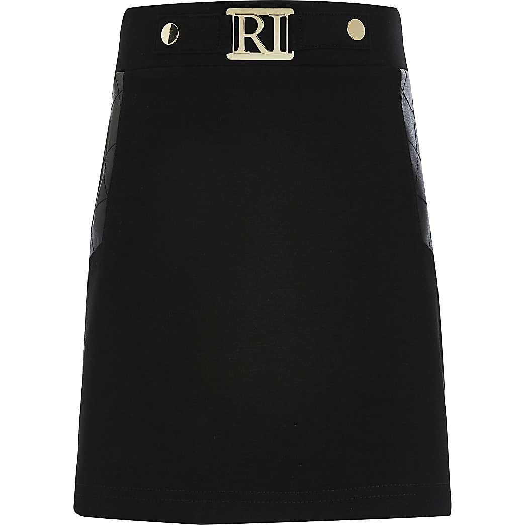Girls black PU ponte panel skirt