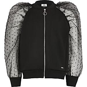 Schwarze Jacke mit gepunkteten Organza-Ärmeln für Mädchen