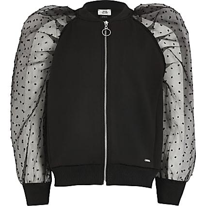 Girls black puff organza spot sleeve jacket