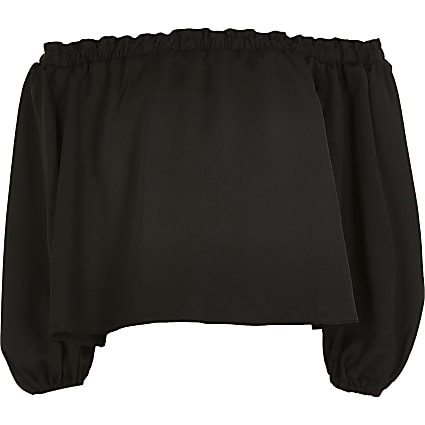 Girls black puff sleeve bardot top