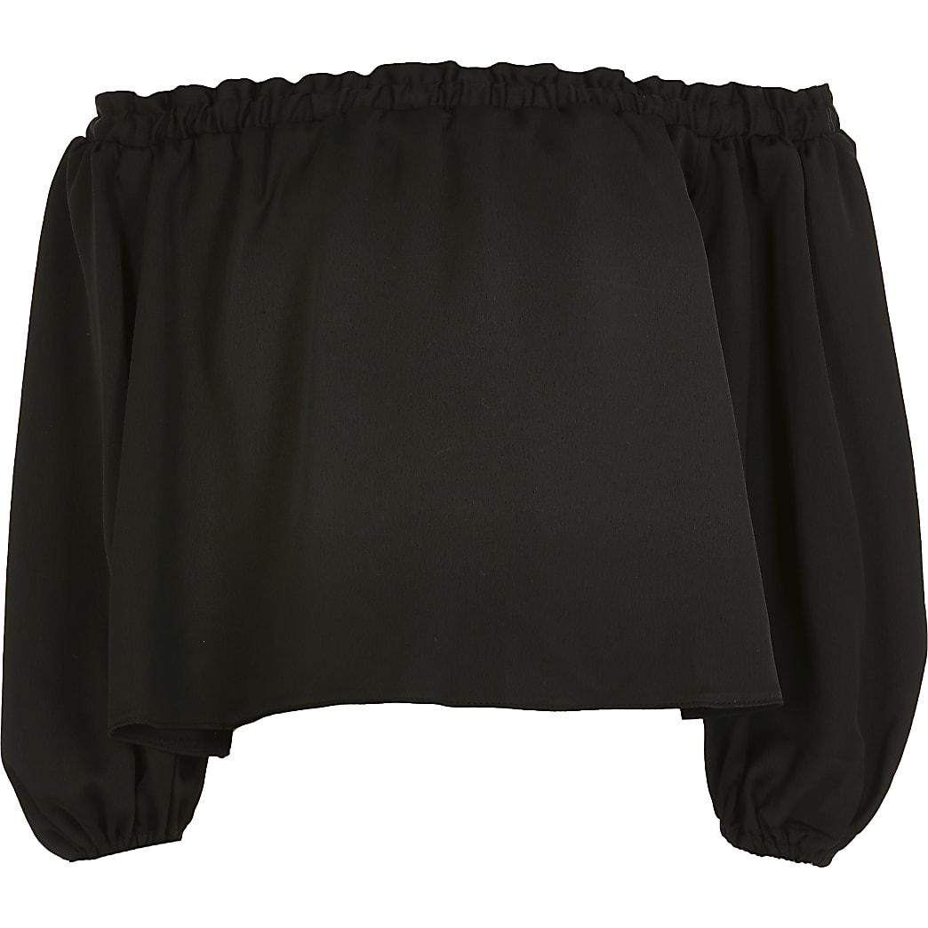 Girls black puff sleeve bardot top