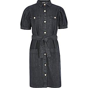 Girls black puff sleeve belted denim dress
