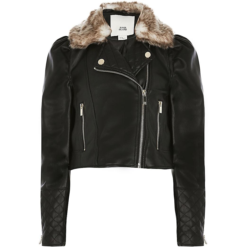 Girls black puff sleeve biker jacket