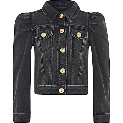 Girls black puff sleeve denim jacket