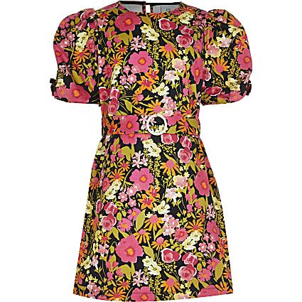 Girls black puff sleeve floral shift dress