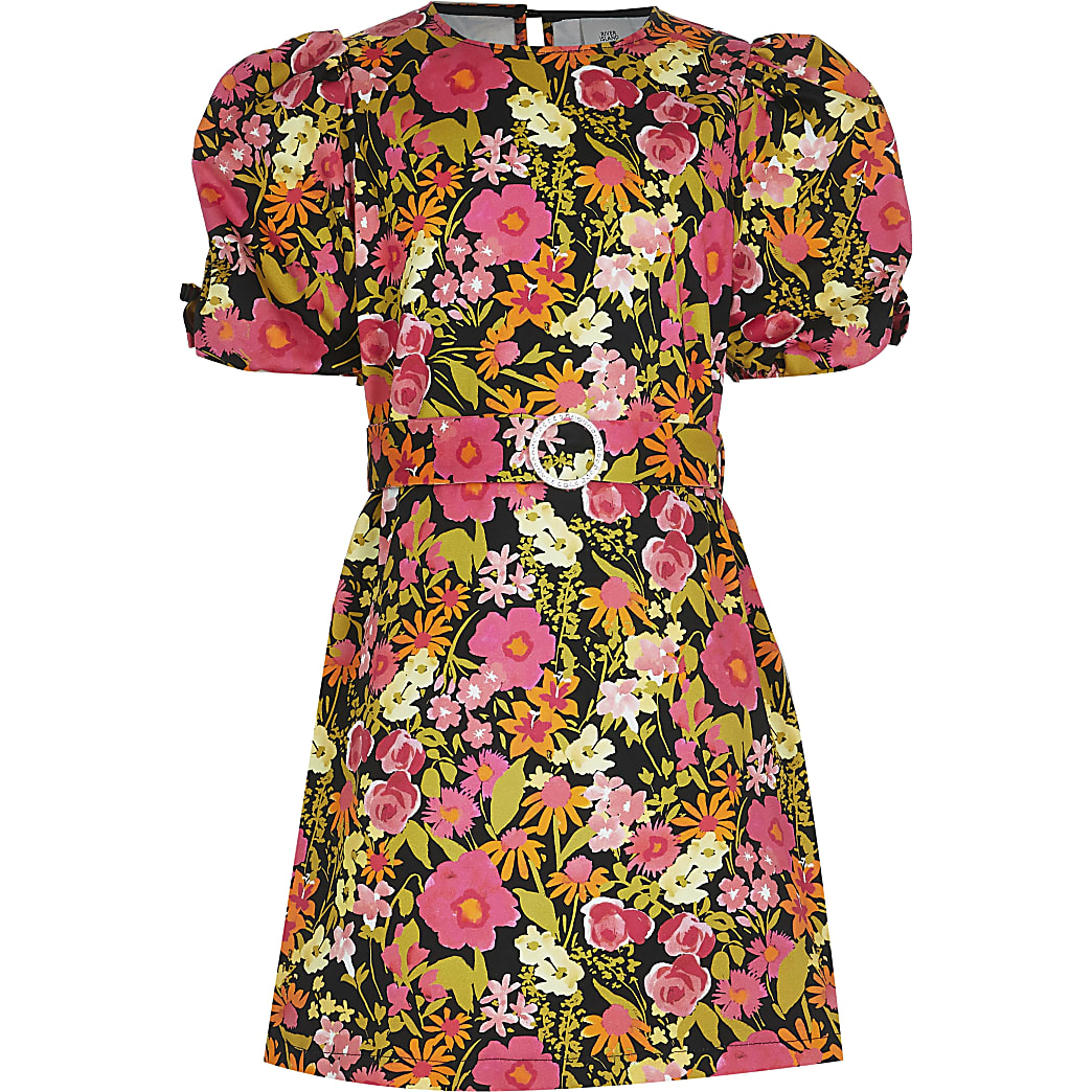 Girls black puff sleeve floral shift dress